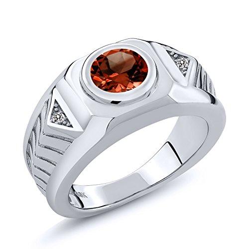 Si1 Si2 Loose Diamonds - 1.63 Ct Round Red Garnet White Diamond 925 Sterling Silver Men's Ring (Size 9)