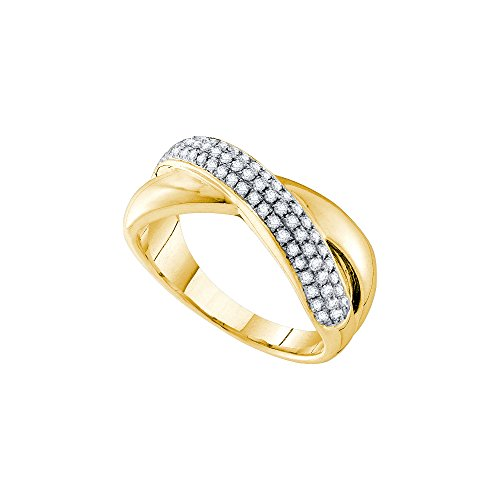 Pave Diamond Crossover (14kt Yellow Gold Womens Round Pave-set Diamond Crossover Band Ring 3/8 Cttw (I1 clarity; H-I color))