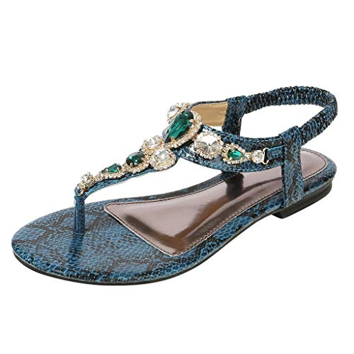 Aunimeifly Women's Flat-Bottom Roman Sandals Crystal Casual Flip-Flops Ladies Bohemian Shoes Elastic Band Sandal Green ()