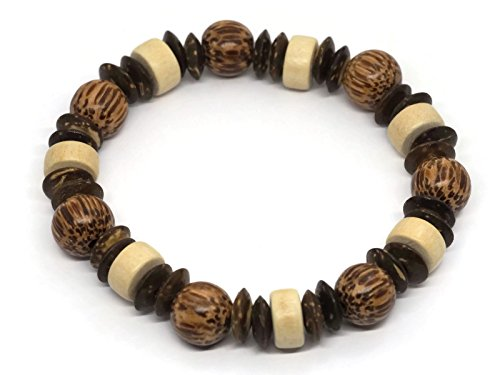 BrownBeans, All Wooden Casual Wear Stretch Style Unisex Wood Beads Bracelet (CBCT5000B) (A02-7.0) by BrownBeans Wood & Beads Jewelry