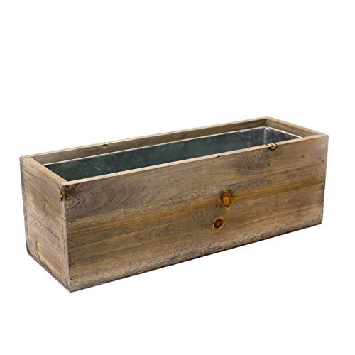 15 Inch Planter (CYS EXCEL Wood Rectangle Window Box Planters with Removable Zinc Liner, H-5