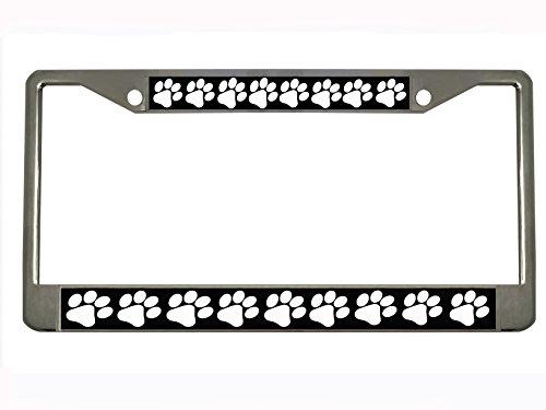 DOG PAW Chrome Metal Auto License Plate Frame Car Tag (Dog Paw Metal License Plate Frame)