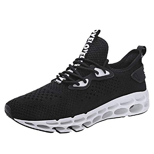 XIDISO Men Women Running Shoes Stylish Sneakers Mens Fashion Casual Walking Shoes Outdoor Running Blade Sneakers Black/White (Para Hombres)