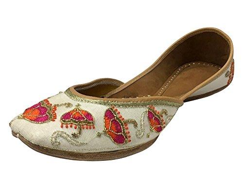 Step n Style Bridal Flats Wedding Shoes Indian Designer Shoes Punjabi Jutti Mojari Juti White