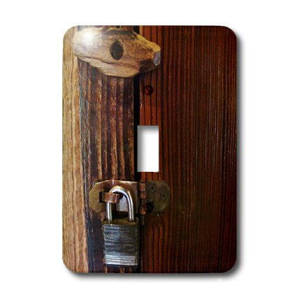 3dRose LLC lsp_26510_1 Old Wooden Lock Single Toggle Switch