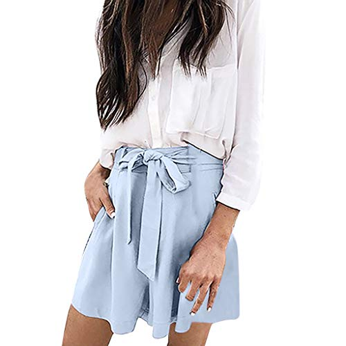 JOFOW Shorts Womens Solid Loose Swing Tie Strappy Bowknot Mini Wide Leg Pants High Waist Casual Fashion Gift Trousers (L,Light Blue) ()