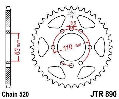 R89042ZBK//54 Corona 890 de zinc negro 42 dientes JT SPROCKETS