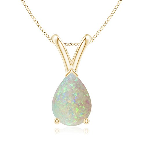 V-Bale Pear Shaped Opal Solitaire Pendant in 14K Yellow Gold (7x5mm Opal)