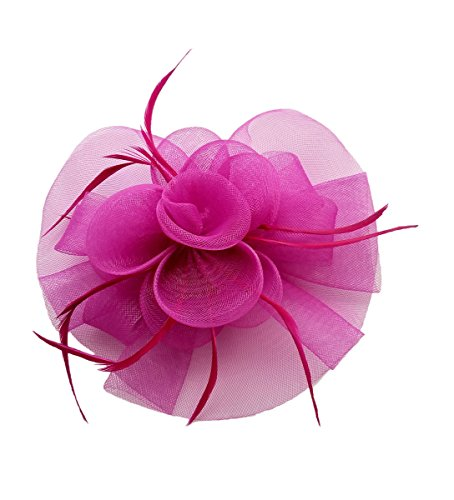 Fascinator Hair Clip Headband Feather Flower Pillbox Hat Cocktail Tea Party A Rose Red Fuschia