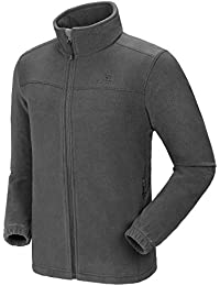Men's Fleece Jackets with Pockets Soft Long Sleeve Full Zip Fleece Coat for Spring Outdoor