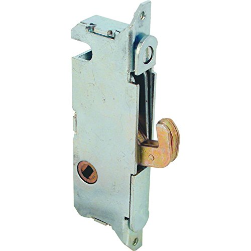 Prime-Line E 2014 Mortise Lock - Adjustable, Spring-Loaded Hook Latch Projection for Sliding Patio Doors Constructed of Wood, Aluminum and Vinyl, 3-11/16, 45 Degree Keyway, Round Face