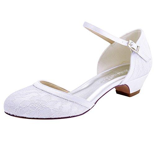 HC1620 Bianco pizzo da fibbia da largo raso basso scarpe chiusa e sposa tacco ElegantPark donne sposa punta dwqx4daP