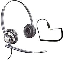 Polycom Compatible Plantronics VoIP Noise Canceling EncorePRO HW720 Headset Bundle for SoundPoint® VoIP Phones: IP 300, 335, 450, 501, 550, 560, 600, 650, 670 | VVX300, VVX310, VVX400, VVX410, VVX500, VVX600, VVX1500 | CX300, CX600, CX700