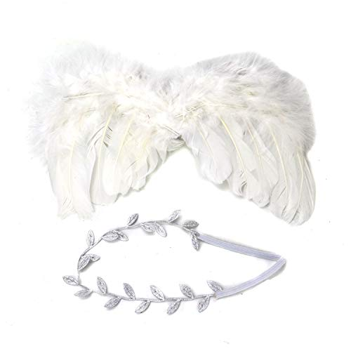 HUELE Set of 2 Angel Feather Wing Photography Props Costume with Leaves Headband for Newborn Baby (Leaf Wing)