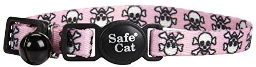 "41Zh9z6wJSL - Li'l Pals Kitten Adjustable Breakaway Collar with Bell - Pink Skulls - 5/16"""