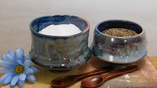 923 Salt and Pepper Pinch Bowls-Wooden Spoon - Set- Thrown on the Potter's Wheel