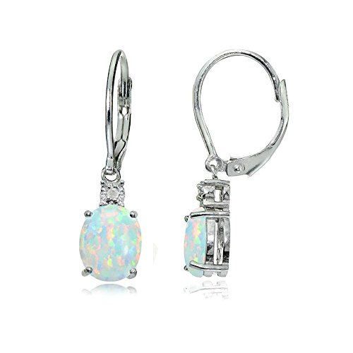 Sterling Silver Simulated White Opal & Simulated Diamond Accent Oval Dangling Leverback Earrings
