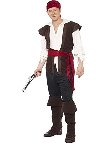 [Smiffy's Men's Pirate Costume, Headscarf, Top, pants, Belt and Boot covers, Pirate, Serious Fun, Size XL,] (Pirate Costumes Boot Covers)
