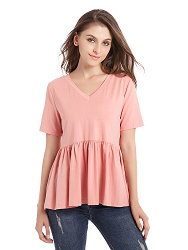 ZURIFFE Women's Summer V Neck Cotton Ruffle Babydoll Peplum Top Tees (Petite&Regular) Peach S