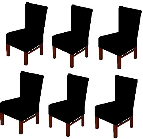 Seat Covers Dining Room Chairs (6 X Dinning Room Chair Seat Covers Spandex/Fabric, Moonter Stretch Removable Washable Banquet Slipcover Protector Folding Decoration For Wedding, Party,Ceremony ,Hotel (Set of 6, Black))