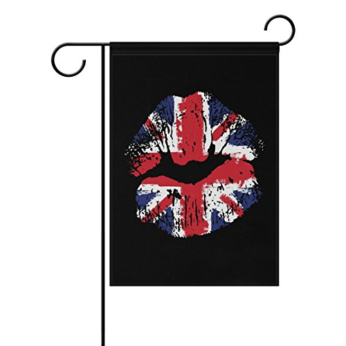 ALAZA Great Britain Flag Lipstick on Grunge Lips Garden Flag Polyester for Home Garden Decor 28 x 40 Inch -