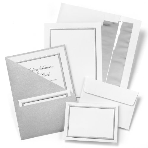 Hortense B. Hewitt 25 Count Shimmer Folder Invitation Kit, Silver