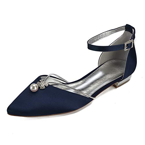 Creativesugar Lady Elegant Pointed Toe Satin Dress Flats Shoes with Pearl and Crystals (10, Navy Blue) - Ladies Satin Shoes