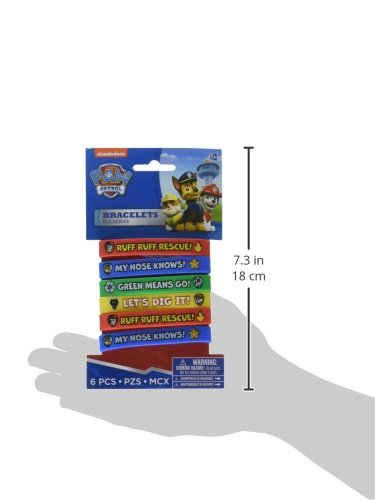 Amscan PAW Patrol Rubber Bracelets, Saver Pack of 6 (Each Includes 4 Pieces), Made from Rubber, Multicolor, 2 1/2'' x 7/16''