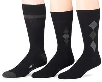 Dockers Men's 3 Pack Performance Dress Argyle Socks, Black, 10-13 Sock/6-12 Shoe