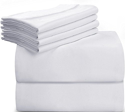 Utopia Bedding 6-Piece Bed Sheet Set (Queen - White) With 4 Pillowcases - Soft Brushed Microfiber Wrinkle, Fade and Stain Resistant Sheet Set