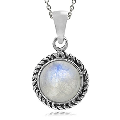 Rainbow Moonstone 925 Sterling Silver Rope Solitaire Pendant w/ 18 Inch Chain Necklace