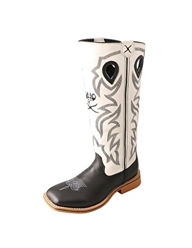 Twisted X Boys' and White Buckaroo Cowboy Boot Square Toe Black 1 D(M) US (Buckaroo Womens Boots)