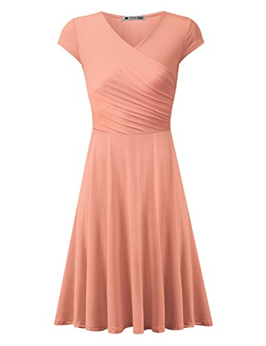 URBANCLEO Womens Cap Sleeve V Neck T-shirt Tunic Mini Dress PEACH 2XLARGE