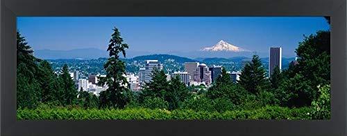 (Easy Art Prints Panoramic Images's 'Mt Hood Portland Oregon USA' Premium Framed Canvas Art - 36