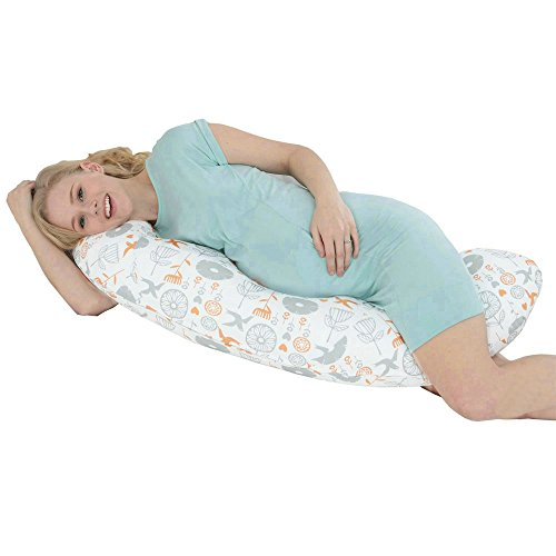 i-baby-C-Shaped-Premium-Chintz-Full-Body-Pregnancy-Pillow-Maternity-and-Nursing-Support-Removable-Cover-Cushion-Washable-100-Percent-Cotton-Pillow-Cover
