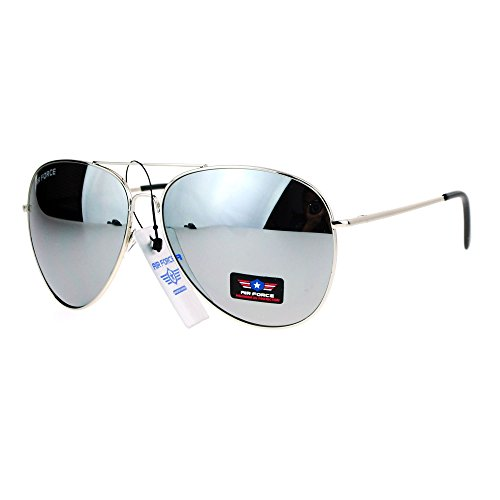 Airforce Mens Oversize Classic Officer Metal Rim Pilot Sunglasses Silver Mirror