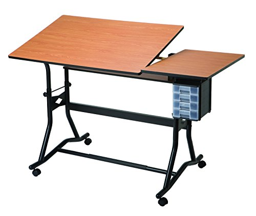 Alvin CM60-3-WBR CraftMaster III Split-Top Drafting, Drawing, and Art Table Black Base Cherry Woodgrain Top