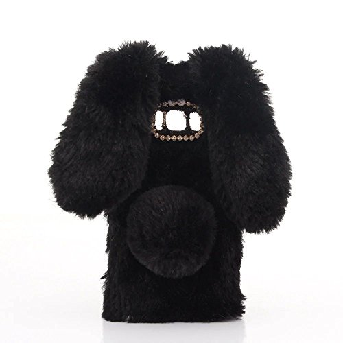 Case for Wiko Fever 3G, Lovely Warm Handmade Bunny Furry Luxury Bling Crystal Rhinestone Soft Beaver Rex Rabbit Ear Case for Wiko Fever 3G(Black)