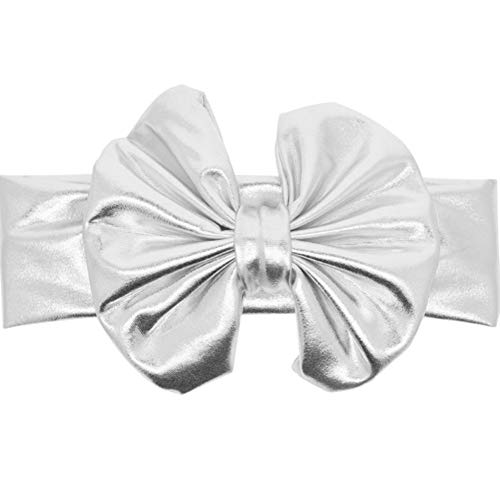 (Lovind Baby Girls Child Silver Plated Headbands Cute Big Bowknot Kids Hairband Hair Accessories for Baby Gift Photo Propsx1piece)