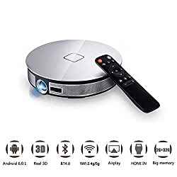 D8s Portable Wifi Bluetooth Projector Android 6 0 System Rk3368 Eight Core Cpu 5g Dual Band 2gb 32g Storage Home Theather Projector Support 4k Full Hd 3d 1080p Video Play Bulit In 12000mah