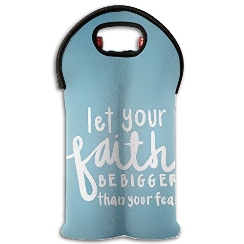 Wine Tote Carrier Bag Let Your Faith Bigger Than Your Fear Purse For Champagne,Water Bottles by YYH