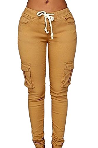Bodycon Casual pantalones de la mujer con bolsillos Khaki