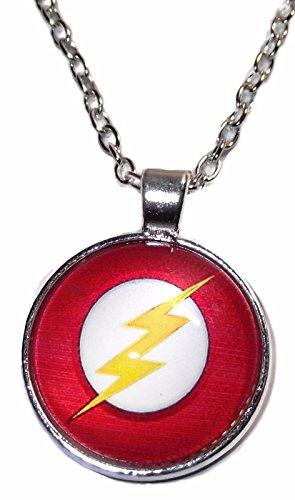 DC Comics The Flash Lightening Bolt Silvertone Glass Dome PENDANT on 20