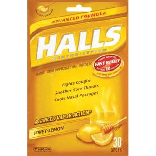 Halls Advanced Vapor Action Honey Lemon Drops Bonus Bag -- 3 per (Vapor Action Honey)