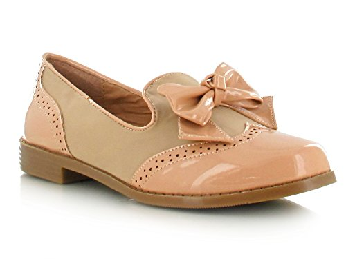 Suede Patent Panel Brogue Bow Design Classy and Comfy Loafers for a Smart Sophisticated Casual Office Look Women's Daytime/Evening Footwear Nude Nubuck 1eTXld1QQp