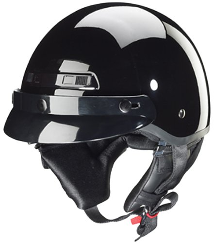 Zox Banos STG Motorcycle Half Helmet (Glossy Black, X-Large) ()