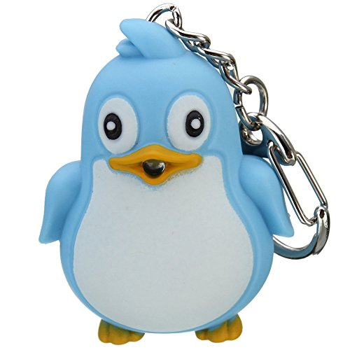 Cute Animal Penguin LED Light with Sound Key Chain Key Ring Torch Xmas (Penguin Key)