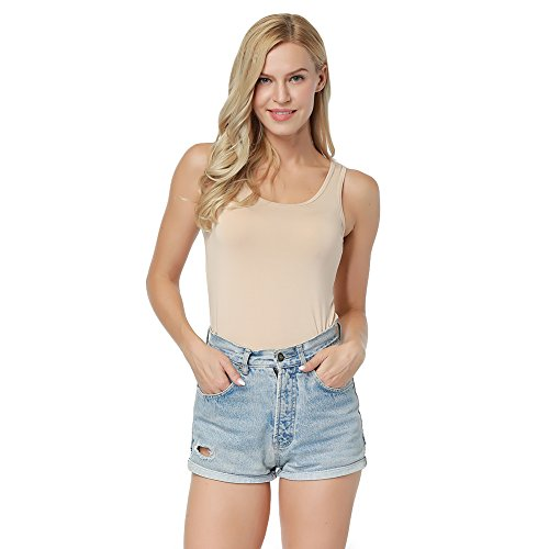 PARTY LADY Warm Undershirt for Women Camisole Fitted Bamboo T Shirt Underwear Tee Size L Beige