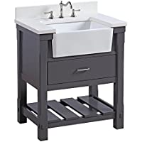 Charlotte 30-inch Bathroom Vanity (Quartz/Charcoal Gray): Includes a White Quartz Countertop, Charcoal Gray Cabinet with Soft Close Drawers, and White Ceramic Farmhouse Apron Sink
