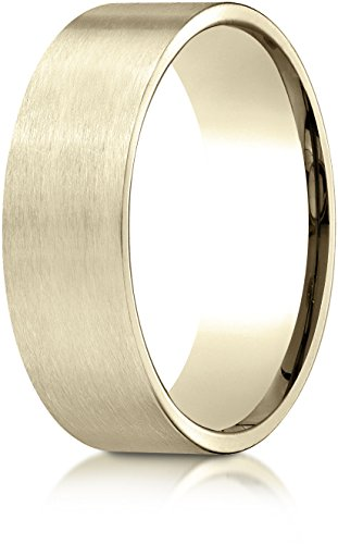 Benchmark 10k Yellow Gold 7mm Comfort-Fit Satin-Finished Carved Design Band, Size 12 - Yellow Gold Satin Design